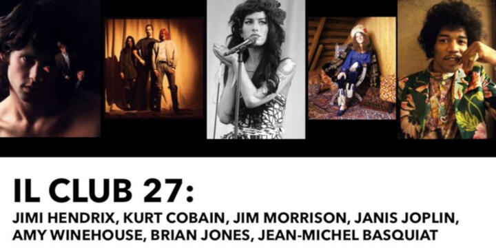 Il Club 27 Hendrix Cobain Morrison Joplin Winehouse Jones Eventi, serate..robe